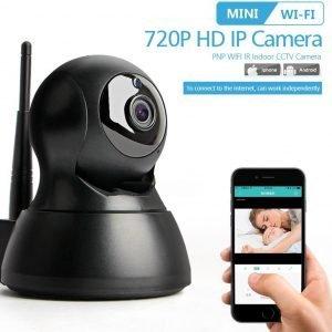 DVSE N703X Wireless IP WiFi Smart Camera 720P, Baby monitor en Beveiligingscamera, werkt met Smartphone APP. Zwart