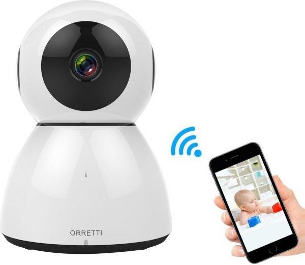 Orretti® Cloud Wifi Camera HD 2MP met iOS & Android Smart App - IP Video Beveiligingscamera met Nachtzicht Bewegingsdetectie - Babyfoon (Wit)