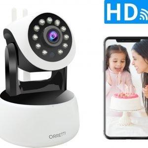 Orretti® HD Wifi Cloud Camera Babyfoon met iOS & Android Smart App - IP Video Beveiligingscamera met Nachtzicht Bewegingsdetectie Cloud Opslag (Wit)