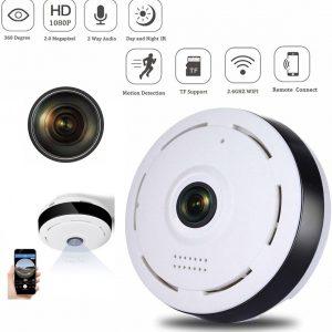 TKSTAR 360° panoramische Fisheye IP-camera met bewegingsdetectie - babyfoon - draadloze camera met wifi ondersteuning Voor binnen Anti diefstal Beveiligingscamera's Nachtzicht| Wit